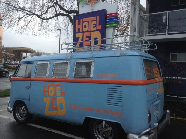 Hotel Zed sign and car